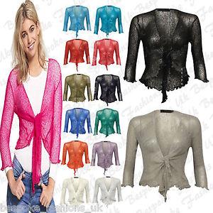 Fine-Knit-Tie-Front-Bolero-Cropped-Ladies-Shrug-Top-Cardigan-3-4-Sleeve-One-Size