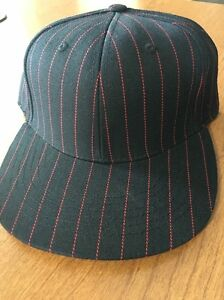TOP OF THE WORLD new BLANK BLACK/RED PINSTRIPE HIGH CROWN FITTED HAT CAP 7 3/8