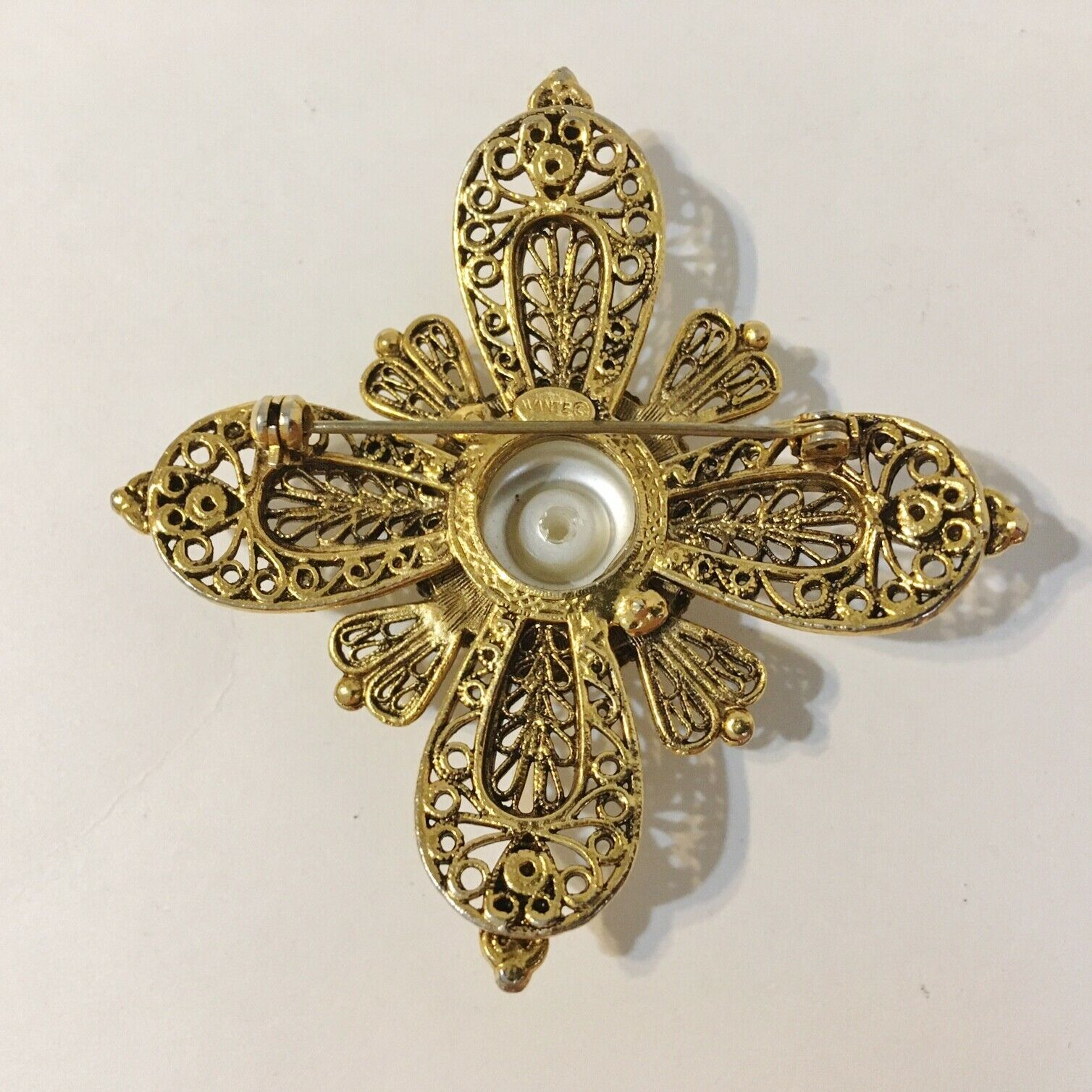 Avante Pin Brooch Vintage Faux Pearl Layered Orna… - image 6