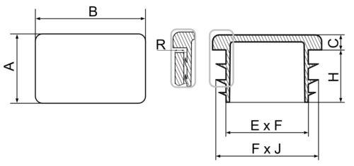 25x100mm quadrangolare TUBO lammelenstopfen TAPPO TAPPI TUBO TUBO anellini TAPPO