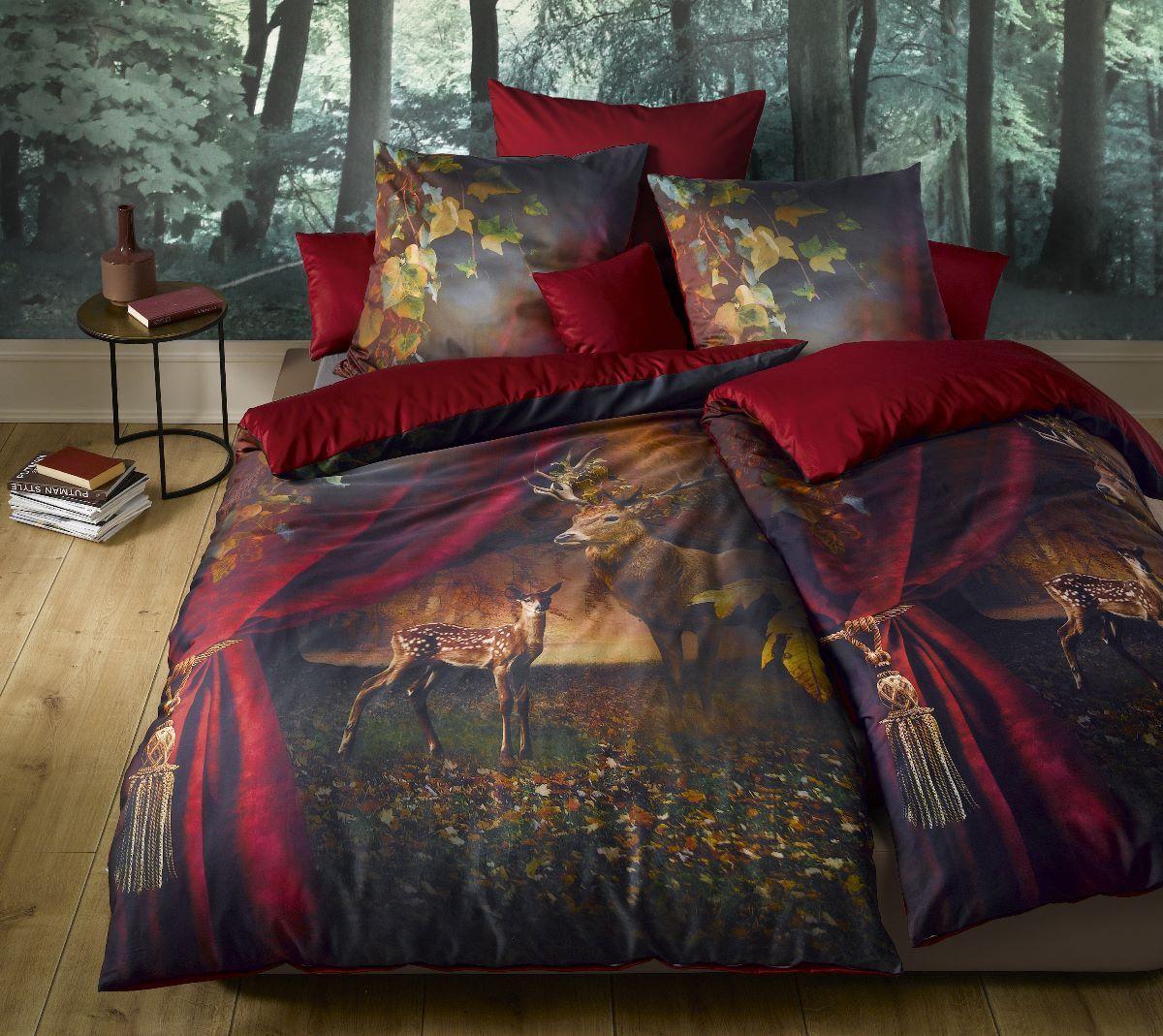 Fleuresse Mako Satin Bettwäsche bed art 113759 04 rubin rot 135x200  155x220