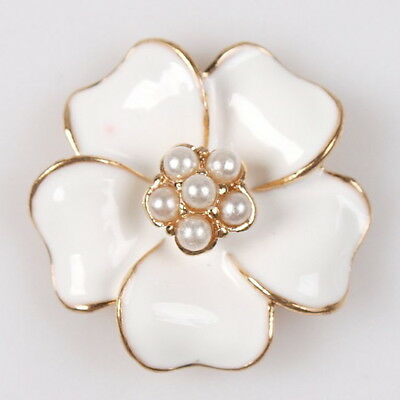 15x 145657 New Alloy White Enamel Faux Pearl Flower Charms Golden Embellishments