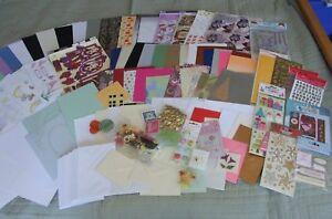 CRAFT BUNDLE MATERIALS CARD PAPER STICKERS EMBELLISHMENTS 40 ENVELOPES A4 box
