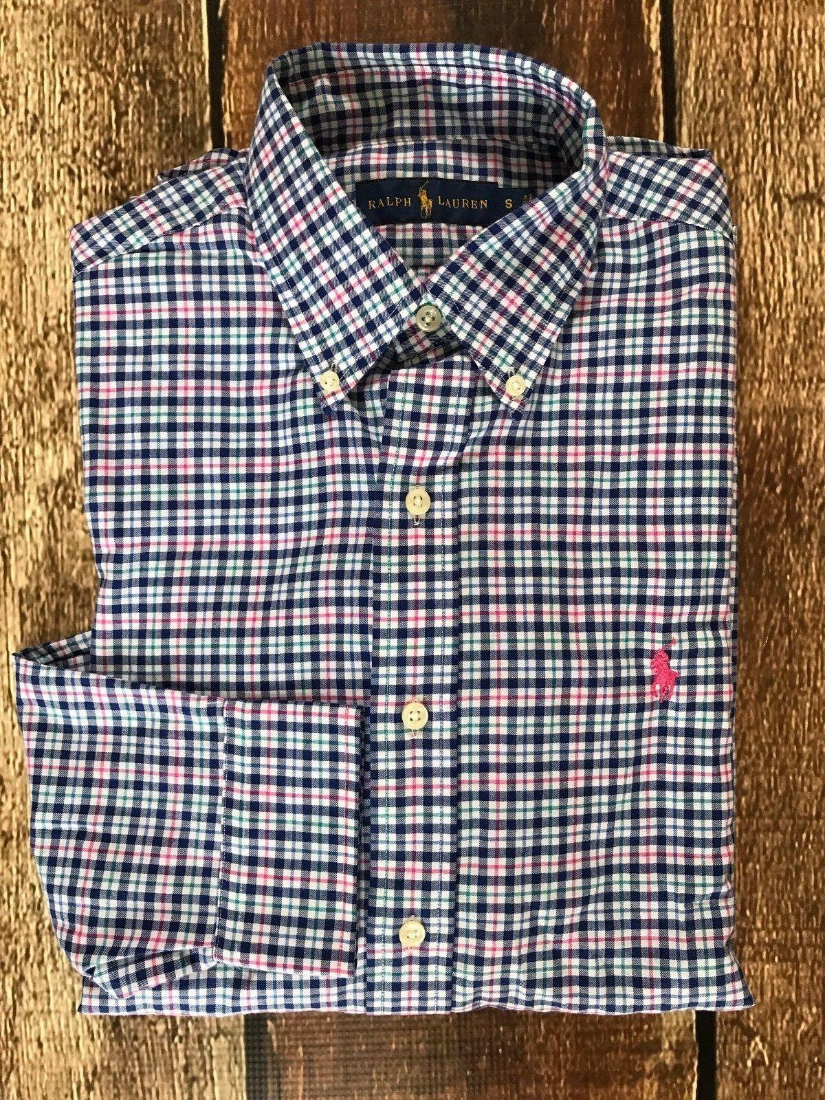 Polo Ralph Lauren Mens Plaid Twill Sport Shirt bluee Pink Green Mens Size Small