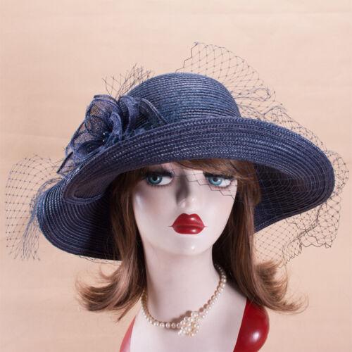 Sinamay Flower Womens Kentucky Derby Church Wedding Tea Party Wide Brim Hat T358