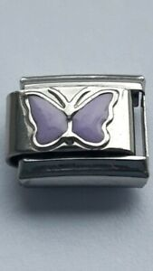 Purple-BUTTERFLY-Insect-9mm-Italian-Charm-Fits-Classic-Bracelet-Link