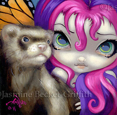 Fairy Face 154 Jasmine Becket-Griffith Butterfly Ferret Fantasy SIGNED 6x6 PRINT