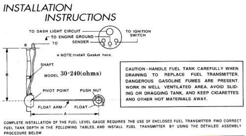 "0024-Universal Fuel Level Gauge With Sender 2-1//16"""