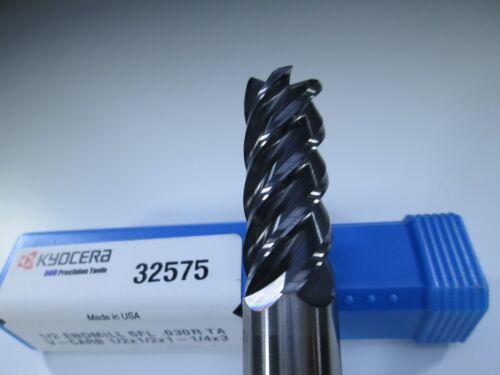 "KYOCERA SGS 32575 V-CARB CARBIDE 1//2/"" END MILL .030/"" RADIUS 5 FLUTE LOT 2"