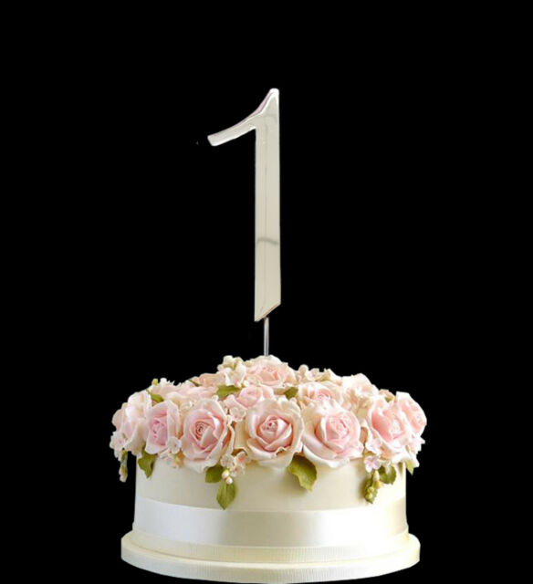 Cake Topper Metallic Silver Birthday Anniversary Numbers Symbol Pick And Shiny