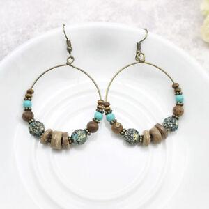 Image Is Loading Bohemia Earrings Tribal Bronze Hoop Turquoise Much