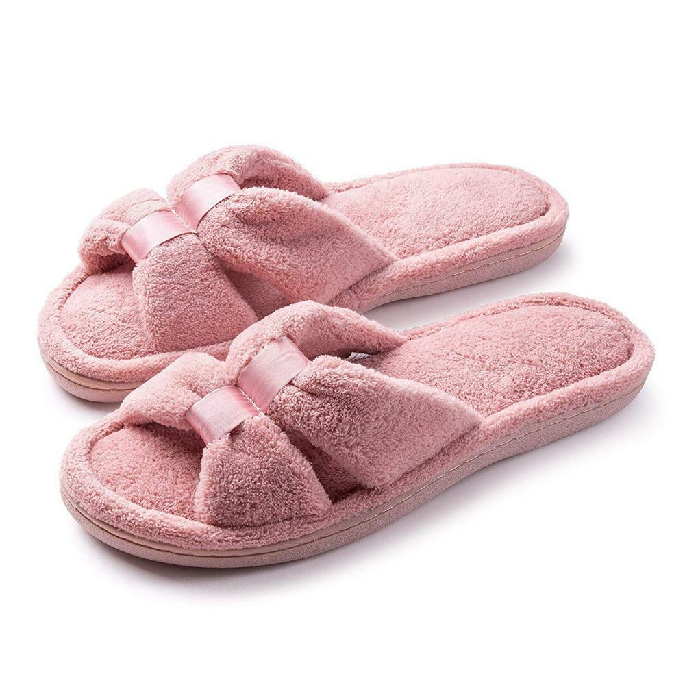 Roxoni Womens Terry Slippers; A Cozy Open Toe Spa Thong Flip Flop Satin Detail