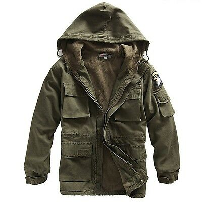 Hot Men Warm Coat Hooded Winter Parka Outerwear Zip Up Jacket Waist Length sells