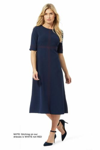 PRINCIPLES by Ben De Lisi Navy Tailored Over Stitch Midi Dress RRP £60