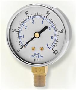 "Weklser GTC 0-100 PSI 1//4/"" NPT Lower Connection 2.5/"" Utility Pressure Gauge"