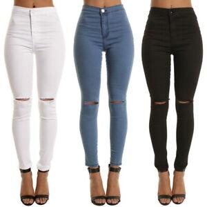 UK Women Denim Slim Skinny Ripped Pants High Waist Stretch Jeans Pencil Trousers