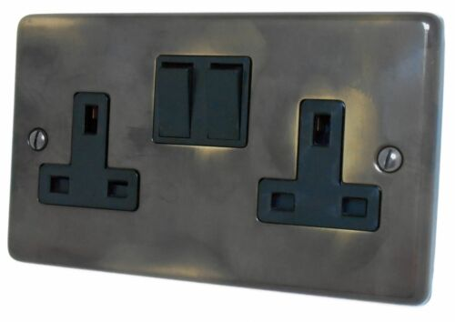 G/&h norme CAN10B plaque laiton vieilli 2 Gang Double 13 A Switched Plug Socket