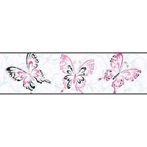 Image Is Loading Wallpaper Border Pink Black Butterfly Scroll On White