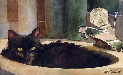 Giclee Print Black Cat Watercolor Painting art long hair pet portrait 8x10