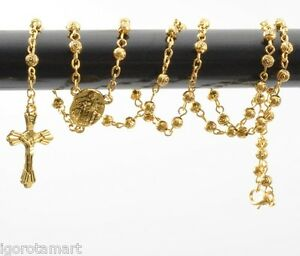 Jesus Cross Crucifix Pendant Goddess 18k Gold Filled Trendy Long Rosary Necklace