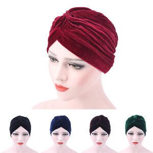 Femmes-Velours-Musulmane-Ebouriffe-Cancer-Chimio-Bonnet-Echarpe-Turban-Tete-Wrap