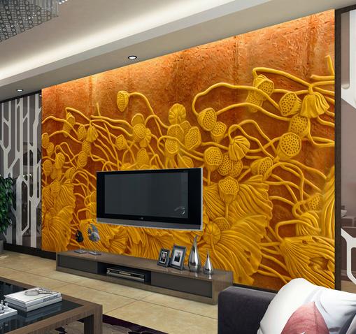 3D Gold Lotus Fruit 74 Wall Paper Murals Wall Print Wall Wallpaper Mural AU Kyra