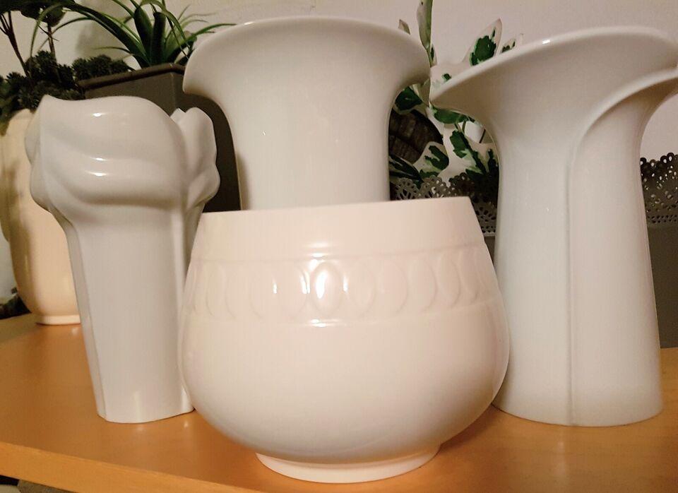 Hvide porcelæns vaser, Tyske vaser, Skål Royal Copenhagen