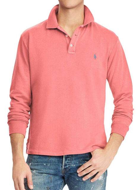 8cbf1a6ab New Mens Polo Ralph Lauren Spa Terry Hyannis Red Long Sleeve Rugby Polo  Shirt S