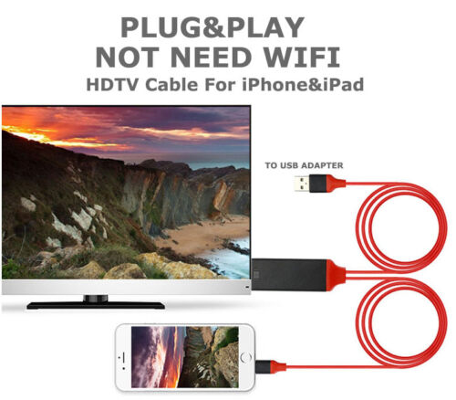 New 8 Pin Lightning to HDMI Lead TV AV Adapter 2m Cable iPad iPhone X 6 7 8 Plus