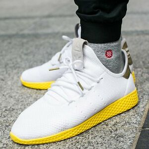 d6e3c05db0450 Adidas Pharrell Tennis HU PK Primeknit White Yellow BY2674 Size 11 ...
