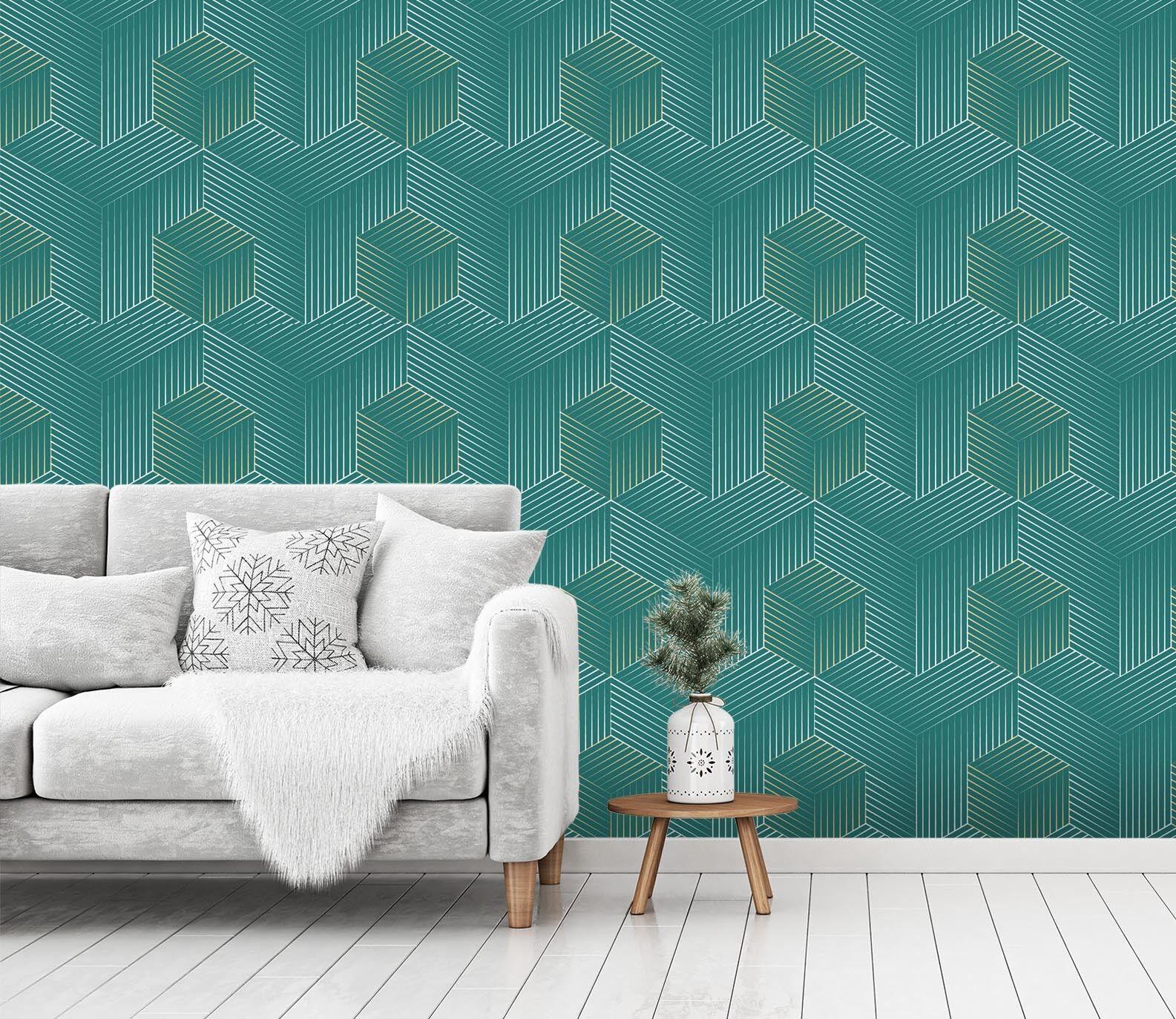 3D Würfel Linie Muster 22 Tapete Wandgemälde Tapete Tapeten Familie Kinde DE