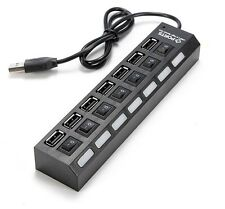 Technotech High Speed 7 Port USB HUB 2.0 With Individual Switches Black