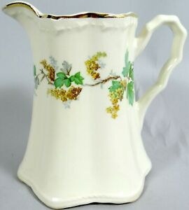 Vtg Crooksville Coffee Creamer Cream Pitcher Green Leaves Yellow Flowers Antique Ebay
