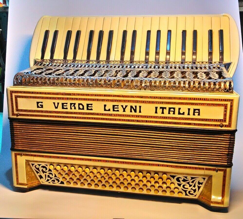 Antique Accordeon Antica Fisarmonica Grün signature  80 bassi