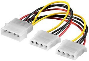 4-PIN-Molex-Y-Kabel-Adapter-Verteiler-Stromadapter-intern-Splitter-4polig-0-15-m