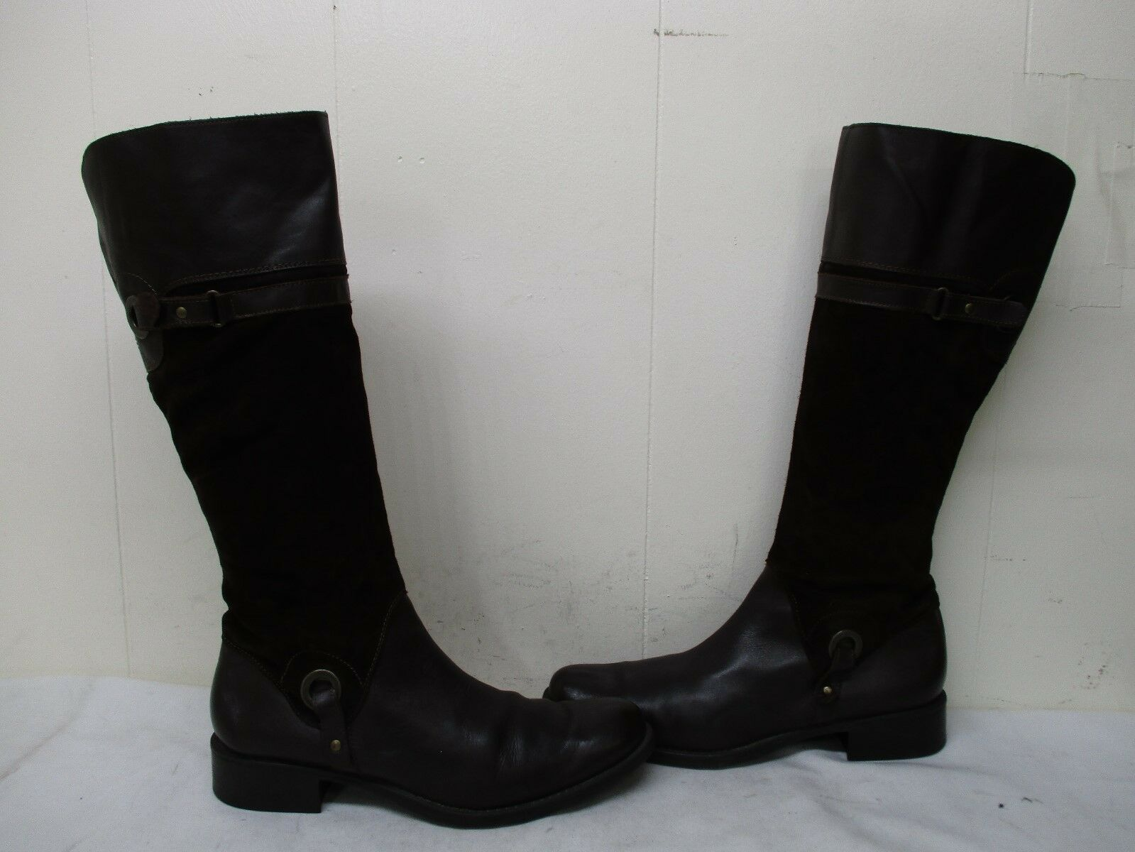 women Piu Brown Leather Suede Zip Knee High Boots Size 41 EUR