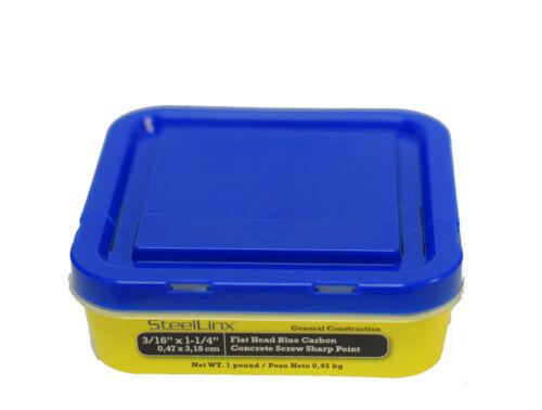 "SteelLinx 3//16/"" x 1-1//4/"" Flat Head Blue Carbon Concrete Screw Sharp Point 20Lbs"