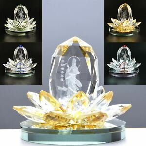 Crystal Lotus Flower Figurines Perfume Bottle Glass Craft Scent