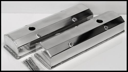 HOLES  # 6351-P SBC FABRICATED POLISHED TALL ALUMINUM VALVE COVERS WITH ACC
