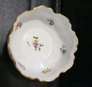 "Antique Richard Klemm Germany Small Bowl Trinket Dresden Flowers 3.25"" gold rim"