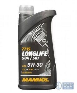 mannol 7715 sae 5w30 longlife motor l vw mb 1 liter ebay. Black Bedroom Furniture Sets. Home Design Ideas