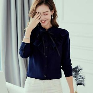 Top-Summer-Chiffon-T-Shirt-Long-Sleeve-Blouse-Loose-Fashion-Shirt-Ladies-Women