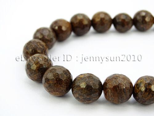 "Natural Bronzite Jasper Gemstone Faceted Round Beads 15/"" 4mm 6mm 8mm 10mm 12mm"
