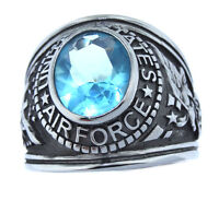 Air Force Us Military Silver Stainless Steel Aqua Stone Mens Ring