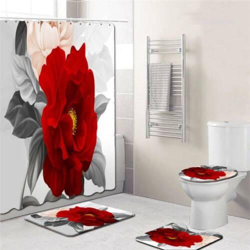 Waterproof Bathroom Shower Curtain Toilet Cover Bath Mat Set AA