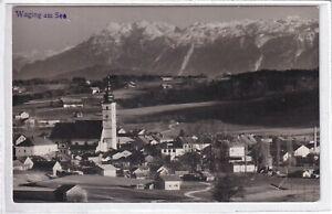 Ansichtskarte Waging am See - Ortsansicht mit Kirche - schwarz/weiß