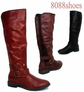 Fashion-Low-Heel-Buckle-Zipper-Round-Toe-Knee-High-Boot-Shoes-Size-6-10-NEW