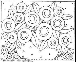 RUG-HOOK-CRAFT-PAPER-PATTERN-Primitive-Blooms-FOLK-ART-Abstract-Karla-Gerard