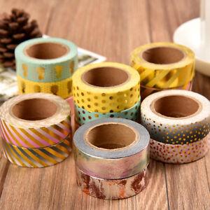 Metallic-Gold-Washi-Stripe-Tape-Scrapbook-Craft-DIY-Paper-Dot-Adhesive-Sticker