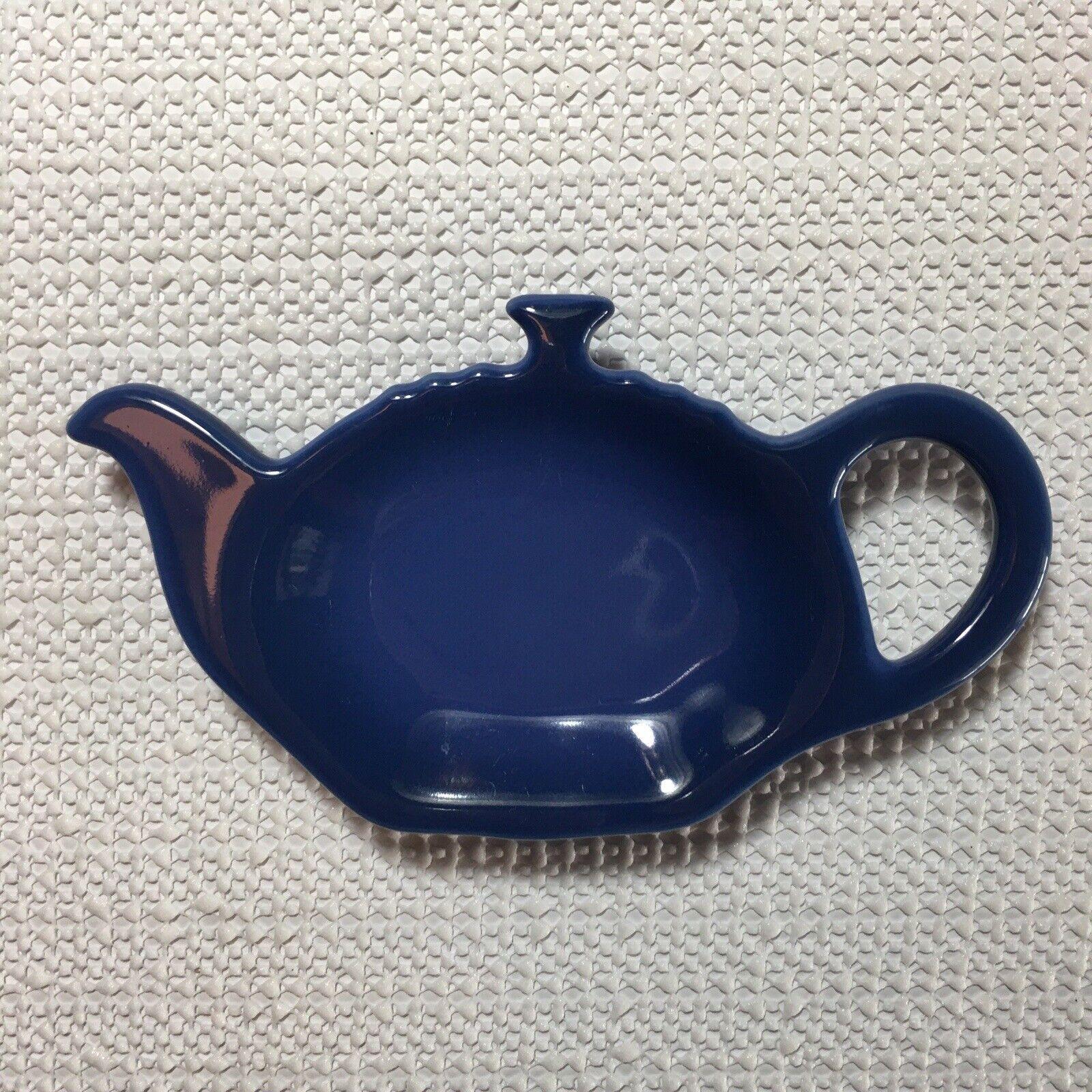 """Le Creuset Cobalt Blue Tea Bag Holder Teaspoon Rest Teapot Shaped 5/"""" x 2.75/"""""""